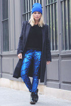 blue metallic bluelab jeans - black shiny Dr Martens boots