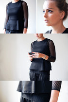 black peplum H&M Trend top - black fishnet unknown t-shirt - black Zara pants