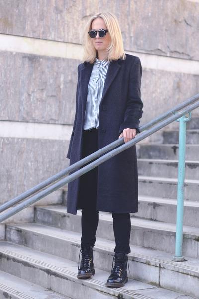 black shiny Dr Martens boots - black mohair maison martin margiela coat