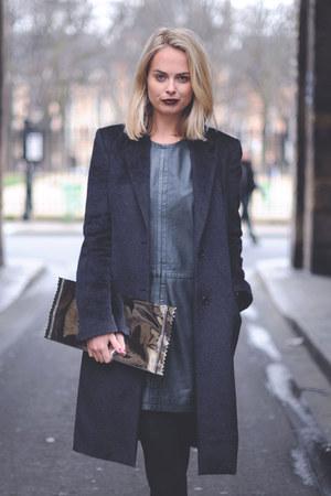 black mohair maison martin margiela coat - dark green leather D Sport dress