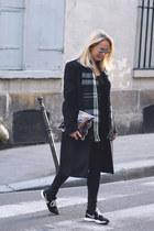 black mohair maison martin margiela coat - black skinny 7 for all mankind jeans