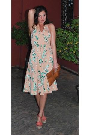 peach printed vintage dress - coral Topshop wedges