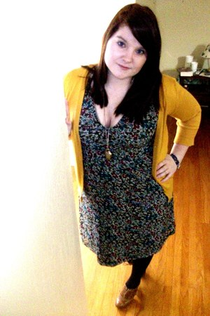 dark green H&M dress - mustard Mossimo cardigan - brown Macys Style&Co shoes