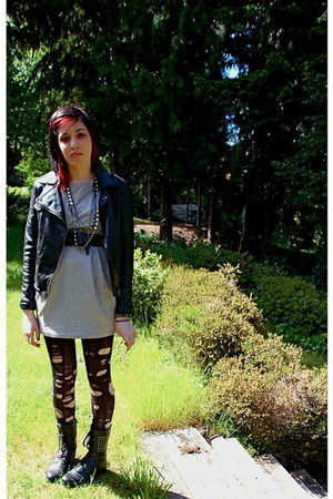 black rock & biker jacket - gray Forever 21 dress - black Forever 21 belt - blac