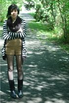 black Metropark scarf - beige Urban Outfitters shirt - gray thrifted cardigan -