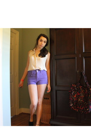 high-waisted Topshop shorts - TOMS shoes - silk T Babaton blouse