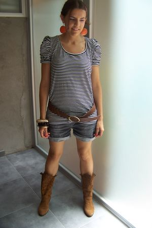 H&M shirt - Zara shorts - Zara boots - H&M accessories