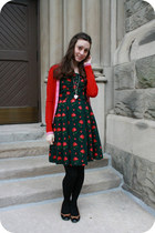 vintage dress - Pringle of Scotland cardigan - Forever 21 necklace - Aldo flats