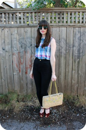 thrifted top - vintage bag - American Apparel pants - vintage wedges