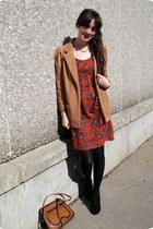 leather vintage bag - vibrant vintage dress - casual chic Forever 21 blazer