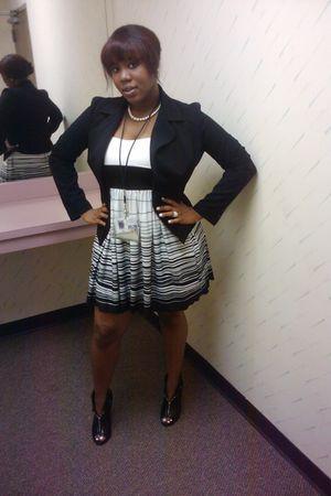 white Charlotte Russe dress - black Thrift Store jacket - black Shoedazzlecom bo