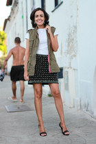 olive green army Forever 21 vest - black beaded Zara skirt - white Zara t-shirt