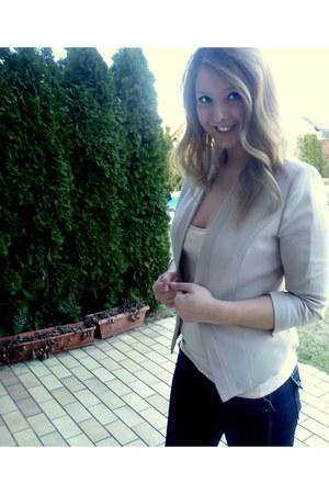 beige H&M blazer - navy H&M jeans - nude H&M top