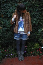 vintage coat - sweater - Zara shorts - boots - tights - purse