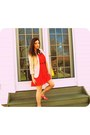 Red-dress-neutral-h-m-blazer-carrot-orange-sandals