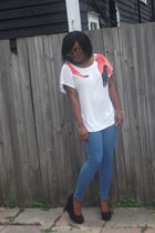 black new look shoes - blue Marks and Spencer leggings - red H&M blouse
