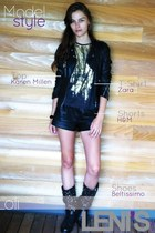 gold on t-shirt Zara t-shirt - studded boots albano boots