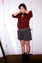 gray Charlotte Russe shorts - red shirt - brown boots - gray belt - silver anne