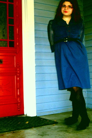 blue dress - black Mossimo socks - black liz claiborne boots - belt - Forever 21