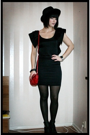 black H&amp;M stockings - black PROENZA SCHOULER shoes - black H&amp;M dress