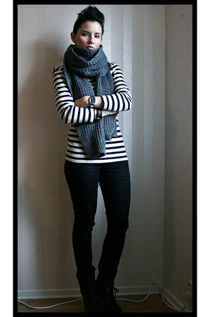 gray H&M scarf - white Filippa K sweater - black Cheap Monday pants