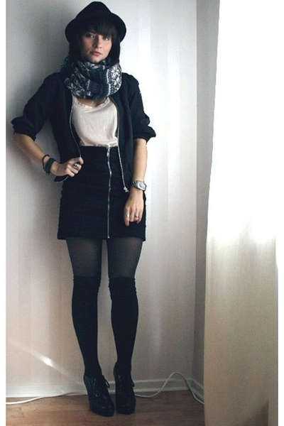 black hlns skirt - black H&M jacket - gray Indiska scarf - beige H&M top