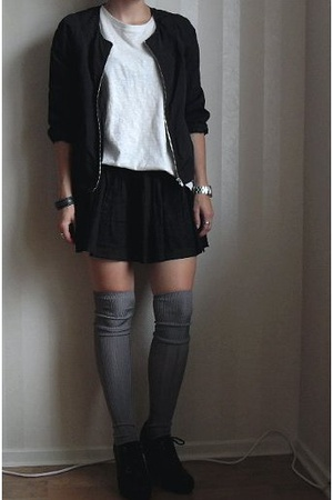 H&M jacket - JC t-shirt - H&M skirt - H&M socks