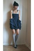 gray Monki dress - black Zara shoes - gray Indiska socks - white H&M top