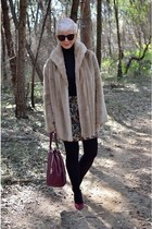 camel faux fur vintage coat