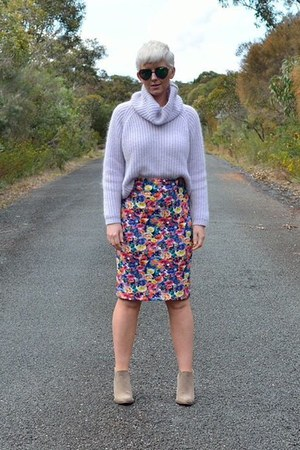 bubble gum Zara skirt - periwinkle chunky knit jumper