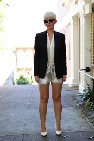 black Topshop blazer - ivory sequin shorts H&M shorts