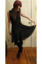 balck lace dress - velvet and lace hat