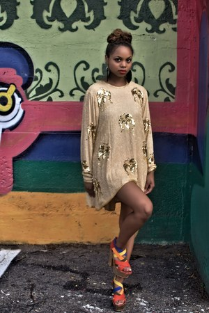 gold high-low vintage dress - brown diana ross earrings - red platforms pumps