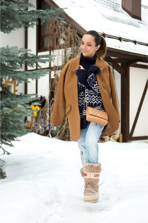 blue Zara jeans - beige shoes - burnt orange Topshop coat - blue Zara sweater