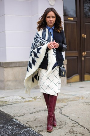 white Zara scarf - crimson shoes - blue shirt - white skirt