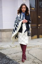 white Zara scarf - crimson shoes - blue shirt - white skirt