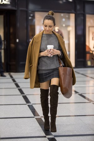 brown H&M boots - bronze Topshop coat - brown bag - gray Zara skirt