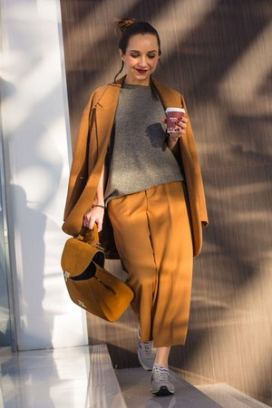 bronze Topshop coat - bronze Zara pants - silver sneakers