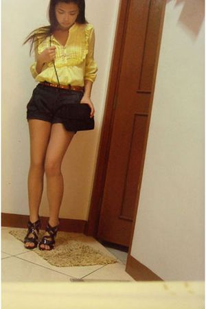 yellow blouse - brown belt - gray Terranova shorts - black shoes - black purse