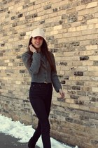 heather gray austrian geiger vintage jacket - black Jeffrey Campbell boots