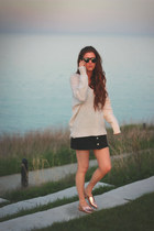beige free people sweater - crimson rayban sunglasses