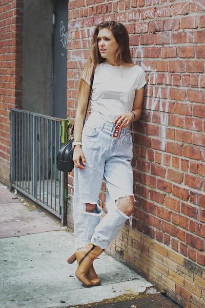 burnt orange vintage boots - blue Topshop jeans - black vintage bag