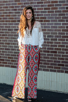 white lace free people top - red Anthropologie pants