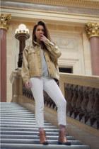 bronze vintage jacket - tawny etienne aigner boots - white JBrand jeans