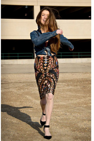 black Anthropologie skirt - navy Anthropologie shirt - black Ebay heels