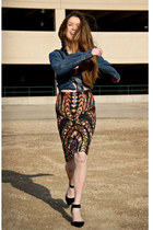 black Anthropologie skirt - navy Anthropologie shirt - black Ebay heels