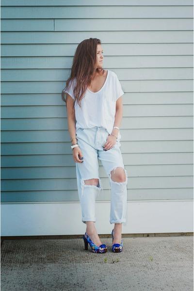 blue Icon Shoes heels - sky blue Topshop jeans - white Zara t-shirt