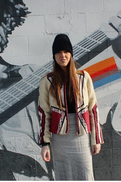 black H&M hat - cream neva patchwork Anthropologie jacket
