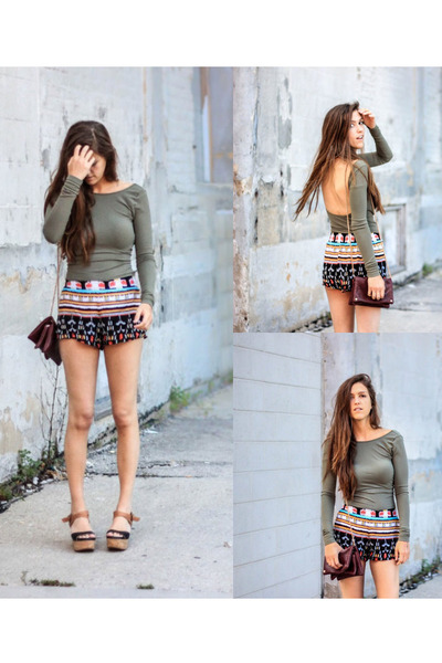black flatform Gee Wa Wa shoes - brick red multicolored Forever 21 shorts