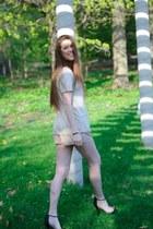 tan Forever 21 shirt - tan Forever 21 shorts - black mesh Forever 21 heels
